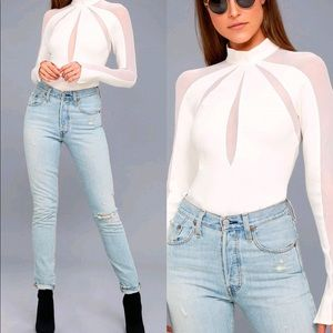 🆕 Free People White Mesh Long Sleeve Top
